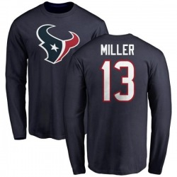 Men's Braxton Miller Houston Texans Name & Number Logo Long Sleeve T-Shirt - Navy