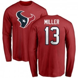 Men's Braxton Miller Houston Texans Name & Number Logo Long Sleeve T-Shirt - Red