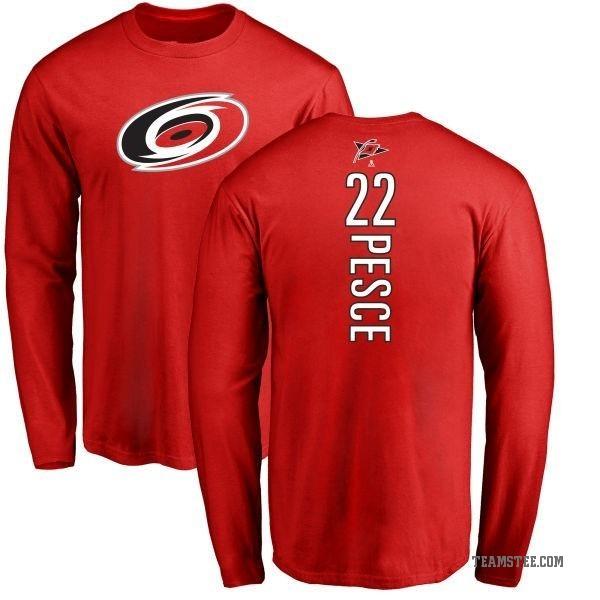 best service 62bee 745d1 Men's Brett Pesce Carolina Hurricanes Backer Long Sleeve T-Shirt - Red -  Teams Tee