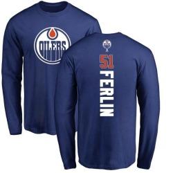 Men's Brian Ferlin Edmonton Oilers Backer Long Sleeve T-Shirt - Royal