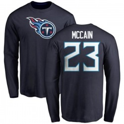 Men's Brice McCain Tennessee Titans Name & Number Logo Long Sleeve T-Shirt - Navy