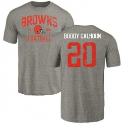 Men's Briean Boddy-Calhoun Cleveland Browns Gray Distressed Name & Number Tri-Blend T-Shirt