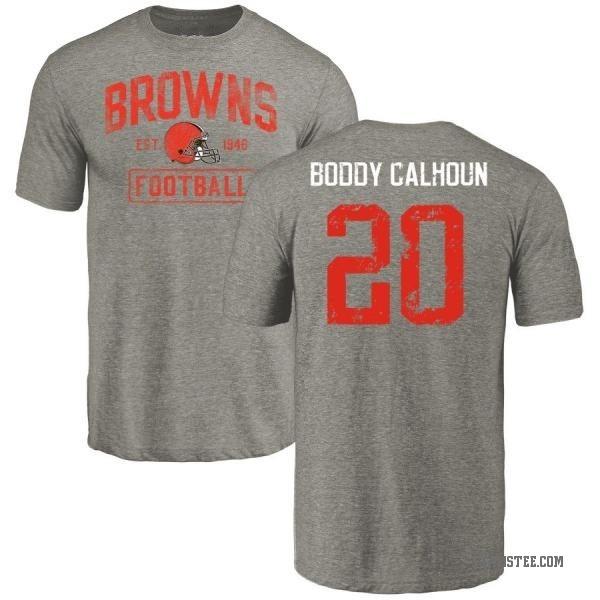 meet 813c3 673b9 Men's Briean Boddy-Calhoun Cleveland Browns Gray Distressed Name & Number  Tri-Blend T-Shirt - Teams Tee