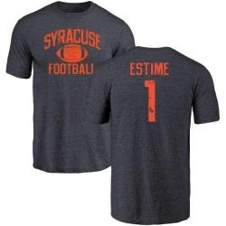 Men's Brisly Estime Syracuse Orange Distressed Football Tri-Blend T-Shirt - Navy