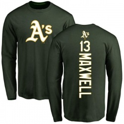 Men's Bruce Maxwell Oakland Athletics Backer Long Sleeve T-Shirt - Green