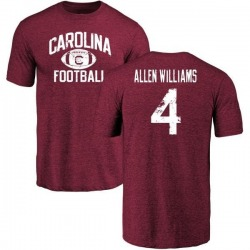 Men's Bryson Allen-Williams South Carolina Gamecocks Distressed Football Tri-Blend T-Shirt - Maroon