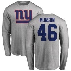 Men's Calvin Munson New York Giants Name & Number Logo Long Sleeve T-Shirt - Ash