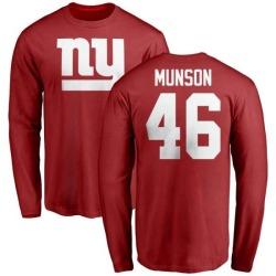 Men's Calvin Munson New York Giants Name & Number Logo Long Sleeve T-Shirt - Red