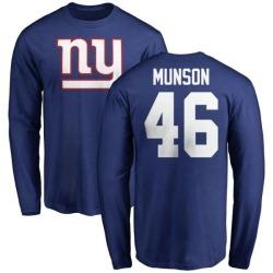 Men's Calvin Munson New York Giants Name & Number Logo Long Sleeve T-Shirt - Royal