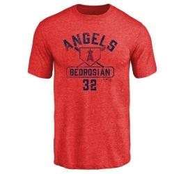 Men's Cam Bedrosian Los Angeles Angels Base Runner Tri-Blend T-Shirt - Red