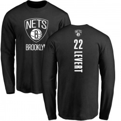 Men's Caris LeVert Brooklyn Nets Black Backer Long Sleeve T-Shirt