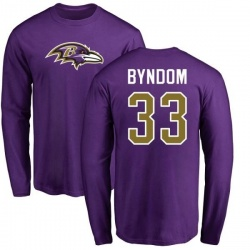 Men's Carrington Byndom Baltimore Ravens Name & Number Logo Long Sleeve T-Shirt - Purple