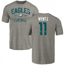 Men's Carson Wentz Philadelphia Eagles Gray Distressed Name & Number Tri-Blend T-Shirt