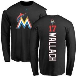 Men's Chad Wallach Miami Marlins Backer Long Sleeve T-Shirt - Black