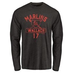 Men's Chad Wallach Miami Marlins Base Runner Tri-Blend Long Sleeve T-Shirt - Black