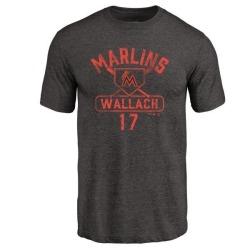 Men's Chad Wallach Miami Marlins Base Runner Tri-Blend T-Shirt - Black