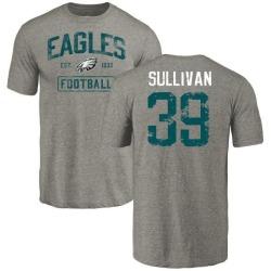 Men's Chandon Sullivan Philadelphia Eagles Gray Distressed Name & Number Tri-Blend T-Shirt