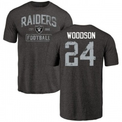 Men's Charles Woodson Oakland Raiders Black Distressed Name & Number Tri-Blend T-Shirt