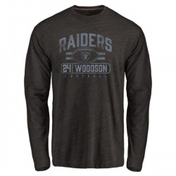 Men's Charles Woodson Oakland Raiders Flanker Tri-Blend Long Sleeve T-Shirt - Black