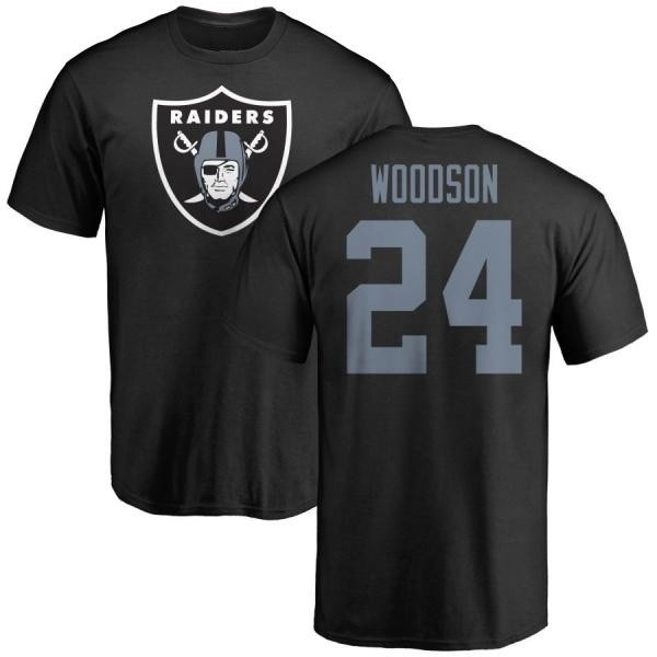 Men's Charles Woodson Oakland Raiders Name & Number Logo T-Shirt - Black