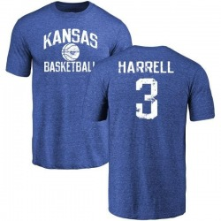 Men's Chase Harrell Kansas Jayhawks Distressed Basketball Tri-Blend T-Shirt - Royal