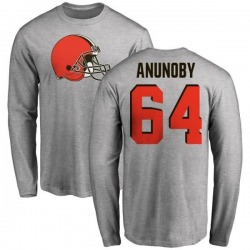 Men's Chigbo Anunoby Cleveland Browns Name & Number Logo Long Sleeve T-Shirt - Ash
