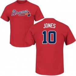 Men's Chipper Jones Atlanta Braves Roster Name & Number T-Shirt - Red