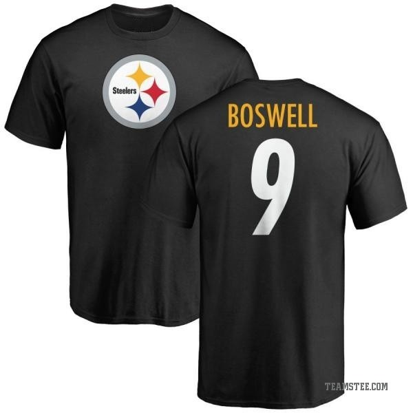 huge discount abefa 477bc Men's Chris Boswell Pittsburgh Steelers Name & Number Logo T-Shirt - Black  - Teams Tee