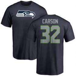 Men's Chris Carson Seattle Seahawks Name & Number Logo T-Shirt - Navy