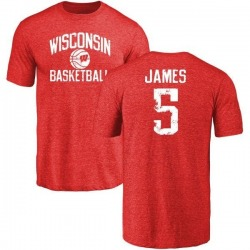 Men's Chris James Wisconsin Badgers Distressed Basketball Tri-Blend T-Shirt - Red