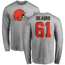 Men's Christian DiLauro Cleveland Browns Name & Number Logo Long Sleeve T-Shirt - Ash