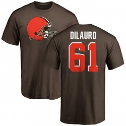 Men's Christian DiLauro Cleveland Browns Name & Number Logo T-Shirt - Brown