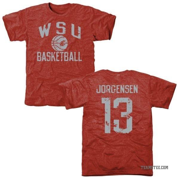 new product db568 42da2 Men's Christian Jorgensen Washington State Cougars Distressed Basketball  Tri-Blend T-Shirt - Crimson - Teams Tee