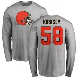 Men's Christian Kirksey Cleveland Browns Name & Number Logo Long Sleeve T-Shirt - Ash