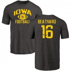 Men's C.J. Beathard Iowa Hawkeyes Distressed Football Tri-Blend T-Shirt - Black