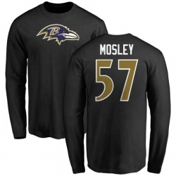 Men's C.J. Mosley Baltimore Ravens Name & Number Logo Long Sleeve T-Shirt - Black