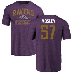 Men's C.J. Mosley Baltimore Ravens Purple Distressed Name & Number Tri-Blend T-Shirt