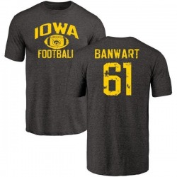 Men's Cole Banwart Iowa Hawkeyes Distressed Football Tri-Blend T-Shirt - Black