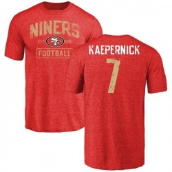 Men's Colin Kaepernick San Francisco 49ers Distressed Name & Number Tri-Blend T-Shirt - Red