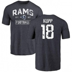 Men's Cooper Kupp Los Angeles Rams Distressed Name & Number Tri-Blend T-Shirt - Navy