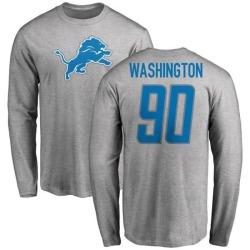 Men's Cornelius Washington Detroit Lions Name & Number Logo Long Sleeve T-Shirt - Ash