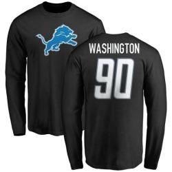 Men's Cornelius Washington Detroit Lions Name & Number Logo Long Sleeve T-Shirt - Black