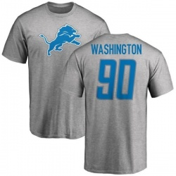 Men's Cornelius Washington Detroit Lions Name & Number Logo T-Shirt - Ash