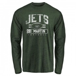 Men's Curtis Martin New York Jets Flanker Tri-Blend Long Sleeve T-Shirt - Green