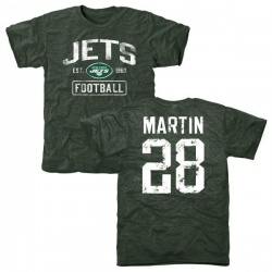 Men's Curtis Martin New York Jets Green Distressed Name & Number Tri-Blend T-Shirt
