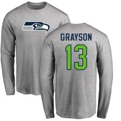 Men's Cyril Grayson Seattle Seahawks Name & Number Logo Long Sleeve T-Shirt - Ash