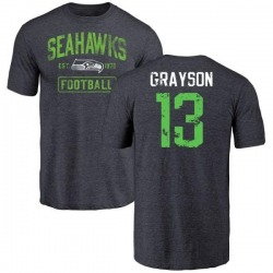 Men's Cyril Grayson Seattle Seahawks Navy Distressed Name & Number Tri-Blend T-Shirt