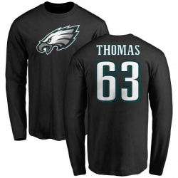 Men's Dallas Thomas Philadelphia Eagles Name & Number Logo Long Sleeve T-Shirt - Black