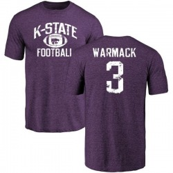 Men's Dalvin Warmack Kansas State Wildcats Distressed Football Tri-Blend T-Shirt - Purple