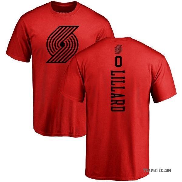 online store 5dac9 a7b5a Men's Damian Lillard Portland Trail Blazers Red One Color Backer T-Shirt -  Teams Tee